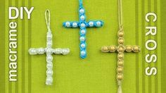 How to make a easy macrame cross with beads.