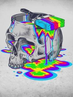 Rainbow paint skull. More