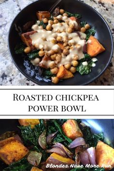 This Roasted Chickpea Power Bowl offers a sweet and savory flavor, including caramelized onions, crunchy and salty roasted chickpeas, a maple tahini dressing, all over a bed of sauteed kale.