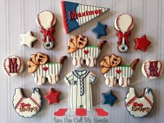 Baseball baby cookies~ By You Can Call Me Sweetie, Onesie, blue, rattle, baby carriage, baseball glove, bib, red pennant