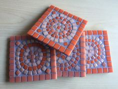 Mosaic Coasters, Set of Bold and Dramatic, Handmade, Orange, Coral and Peach Glass Tiles Mosaic Tile Art, Mosaic Vase, Mosaic Art Projects, Mosaic Crafts, Cement Art, Cement Tiles, Wall Tiles, Easy Mosaic, Flower Pot Crafts
