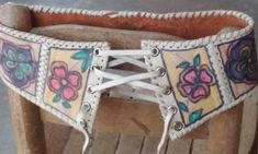 70s CHARLeather Corset BeltPainted by VINTAGELOVERGIRL on Etsy