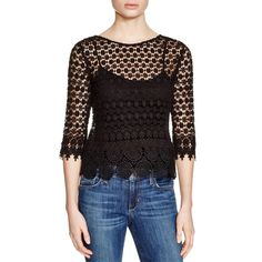 VELVET BY GRAHAM & SPENCER Womens Lace Elbow Sleeves Pullover Top