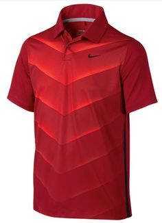The best of the basics with a new, modern edge design, brought to you by Tiger Woods from Nike. Junior polo shirt in rich red with varying shades of red chevron design on the front panel. Tiger Woods, Team Wear, Sport Wear, Nike Golf, Brand Collection, Polo T Shirts, Boutique, Fitness Models, Badminton