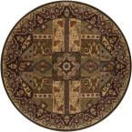 Justica Dark Brown 9 ft. 9 in. x 9 ft. 9 in. Round Area Rug
