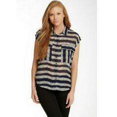 Harlowe & graham blouse Sheer, cap sleeve, two pocket, Navy print blouse. Worn twice. Harlowe and Graham Tops Blouses