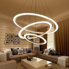 Modern LED Pendant Lights Fixtures Ring Dining Living Room Restaurant Home Lighting Decor Circles Hanging Lamp Remote Dimmable. Chandelier Lighting Fixtures, Hanging Light Fixtures, Led Pendant Lights, Modern Pendant Light, Modern Chandelier, Cheap Chandelier, Hanging Lights, Ceiling Chandelier, Led Ceiling