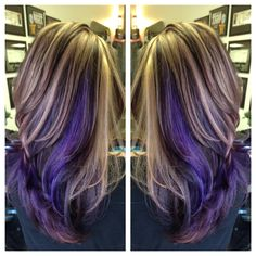 Highlight lowlight with pops of purple.