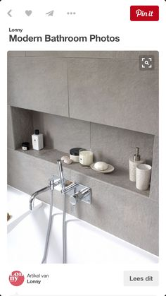 "Modern Bathroom Photos Nische im Badezimmer mit Fliesen grau. approach with this family bathroom was to create a light, modern space,"" says Fiona Ly."