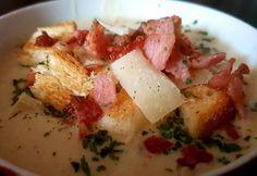 Tejszínes karfiolleves baconnel Potato Salad, Bacon, Potatoes, Chicken, Meat, Ethnic Recipes, Food, Eten, Potato