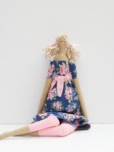 Fabric doll plush softie blue pink rose dress cloth doll art doll cute stuffed doll lovely blonde rag doll - gift for girls