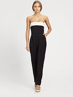 8c556abfad0 Valentino - Strapless Bow-Back Silk Jumpsuit Black Strapless Jumpsuit