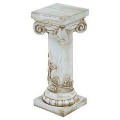 """Weathered ceramic plant stand with a classical column design.   Product: Plant standConstruction Material: CeramicColor: WhiteFeatures: Weather resistantDimensions: 21"""" H x 8"""" W x 8"""" D"""