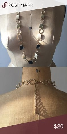 Gold chain link necklace With black and golden rectangles. Adjustable length. Jewelry Necklaces
