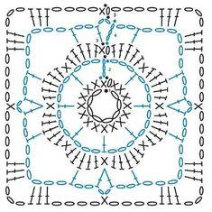 Crochet Symbols, Crochet Chart, Crochet Motif, Diy Crochet, Crochet Designs, Crochet Stitches, Crochet Patterns, Crochet Blocks, Crochet Squares