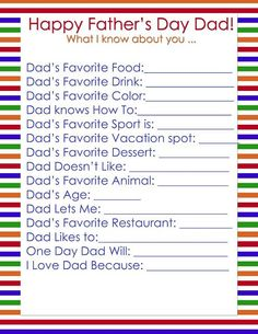 Father's Day Questions by Simplistically Sassy