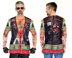 Ugly Christmas X-Mas Sweater Biker Tattoo Vest Printed Faux Real Tee T-shirt L #FauxReal #GraphicTee