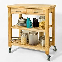 Dieser Küchenwagen aus Gummi-Holz ist stabil und bietet sehr viel Stauraum für verschiedenste Utensilien in Ihrer Küche.   Ausgestattet ist dieser praktische Küchenwagen mit zwei geschlossenen Schubladen. Außerdem verfügt der Wagen über zwei offenen Ablagefächer, indem Sie viele Utensilien verstauen können.   Der Küchenwagen hat vier stabile Rollen, auf denen sich der Tisch leicht verschieben lässt.   Der wird als Bau-Set inklusive Schraubenset und selbstverständlich auch eine…