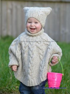 The Vanilla Cloud Poncho and Hat is warm and cozy set for your little one. These unisex poncho and hat are fancy to knit and really comfortable to wear. It is knitted with Peruvian wool in vanilla color. The simple braided cable pattern with moss stitch sectors make this set a great