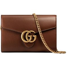 Gucci Gg Marmont Leather Mini Chain Bag (89.340 RUB) ❤ liked on Polyvore featuring bags, handbags, gucci, clutches, brown, mini handbags, brown purse, brown leather purse, leather handbags and mini leather handbags