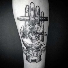 Hand Holding Dagger With All Seeing Eye Woodcut Guys Tattoos