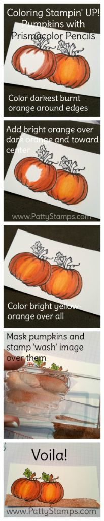 How to color the Stampin' Up! Jar of Haunts pumpkin with Berol Prismacolor…