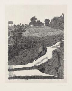 Giorgio Morandi - Paysage Grizzana - Gravure sur cuivre, ex. Ink Illustrations, Illustration Sketches, Graphic Design Illustration, Watercolor Landscape, Landscape Art, Mountain Landscape, Etching Prints, A Level Art, Sketch Inspiration