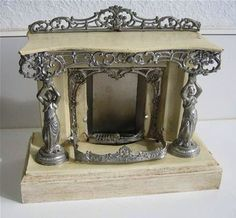 Antique iron/ marble miniature fireplace