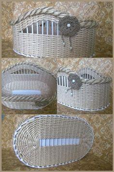 Плетение из бумаги Newspaper Basket, Newspaper Crafts, Origami Box Tutorial, Papercrete, Basket Crafts, Paper Weaving, Art N Craft, Wicker Furniture, Recycled Crafts