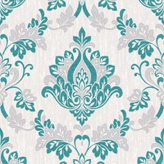 Synergy Damask Wallpaper Teal Cream Vymura M1030