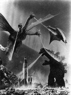 King Ghidorah, Godzilla, and Rodan duke it out on the surface of Planet X.