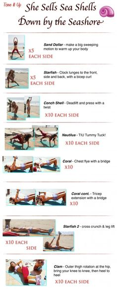 It's your She Sells Sea Shells Workout. A full body toning routine that will work every muscle and get your heart rate up. Great to pair with cardio! From your trainers, Karena and Katrina! www.toneitup.com