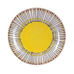 Yellow serving platter with a hand-painted black and red border
