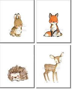 "Woodland Nursery Art, forest decor, Woodland Friends ""A"" SET OF giclée prints, Kit Chase artwork, - Kinderzimmer - Nursery Themes, Nursery Art, Girl Nursery, Nursery Drawings, Baby Animal Drawings, Baby Animal Nursery, Baby Room Art, Cartoon Drawings, Nursery Ideas"