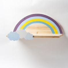 Regale - Wandregal mit Regenbogen und Wolken, Nachttisch - ein Designerstück von Werkstatt-Geppetto bei DaWanda