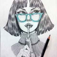 """974 Likes, 19 Comments - Marta Efe (@marta_efe) on Instagram: """"Abandoné inktober hace eones, así que ya pa qué la tinta  #girl #illustration"""""""