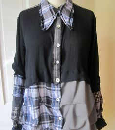 Lagenlook+plaid+tattered+shirt+by+Breathe1960+on+Etsy,+$125.00