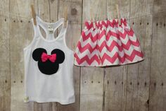 Minnie Mouse inspired outfit, handmade childrens clothing by Willow Bee Apparel on Etsy, $29.95