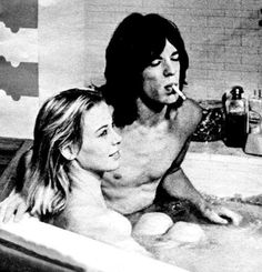 A scene from the film Performance. Mick Jagger with Anita Pallenberg, Keith's girlfriend. Mick and Keith's relationship was neve...