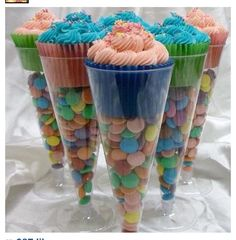 Cupcakes in a plastic champaign cup full of candy