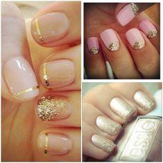 Nails, Nail Polish, Varnish, Manicure, Gold, Pink, Sparkles, Glitter