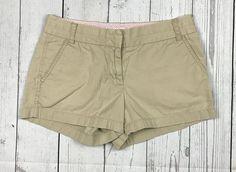 J. Crew womens 4 beige cotton chino broken-in khaki flat front casual shorts #JCrew #CasualShorts