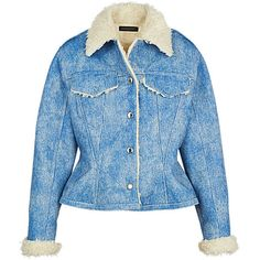 JEAN PEPLUM JACKET (69.985 ARS) ❤ liked on Polyvore featuring outerwear, jackets, blue jean jacket, faux denim jacket, denim jacket, oversized denim jacket and oversized jacket