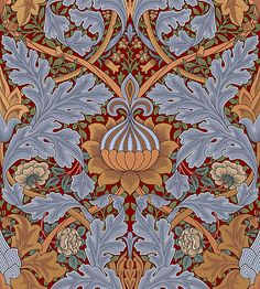 A beautiful William Morris wallpaper designed for Queen Victoria's throne room in St. Blue color, slight burgundy and green accents beautiful.