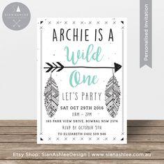 First Birthday Invitation   Aztec Wild One   Arrow and Feathers   Black   Mint, Aqua   Invitation for Boy or Girl Party   Sian Ashlee Design by SianAshleeDesign on Etsy https://www.etsy.com/au/listing/453452176/first-birthday-invitation-aztec-wild-one