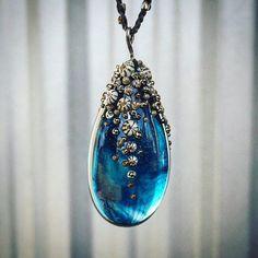 Deep Aquamarine glass barnacle pendant with gold sparkley flecks