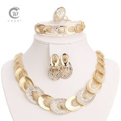 Jewelry Sets For Women Gold Plated Wedding Party Bridal Accessories Necklace Set Fashion CZ Crystal Rhinestone Pendant Costume Bridal Jewelry Sets, Bridal Accessories, Wedding Jewelry, Jewelry Accessories, Jewelry Design, Design Set, Fashion Necklace, Fashion Jewelry, Necklace Designs