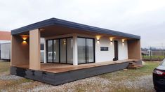 Te koop: Luxe Mobiel Huis - Mobile Home - Real Estate Slovenia - www. Tiny Cabins, Tiny House Cabin, Tiny House Plans, Container House Design, Small House Design, Modern House Design, Luxury Mobile Homes, Contemporary Garden Rooms, Backyard Guest Houses