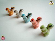 Little Light Green Ceramic Squirrel, miniature squirrel, miniature animal, decor, little, small, tiny, ceramic animal, figurine, iammie