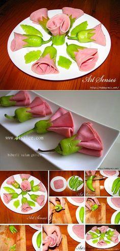 Meats & Pepper  flower appetizer
